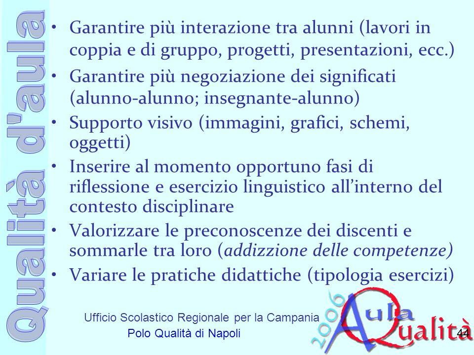 Ufficio Scolastico Regionale per la Campania Polo Qualità di Napoli Garantire più interazione tra alunni (lavori in coppia e di gruppo, progetti, pres