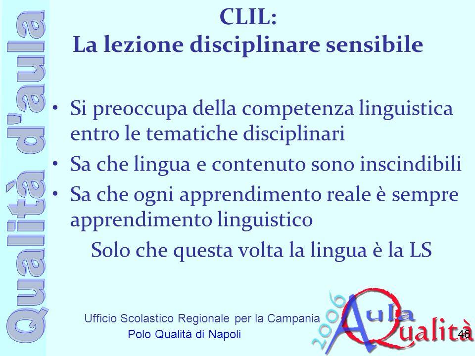 Ufficio Scolastico Regionale per la Campania Polo Qualità di Napoli CLIL: La lezione disciplinare sensibile Si preoccupa della competenza linguistica