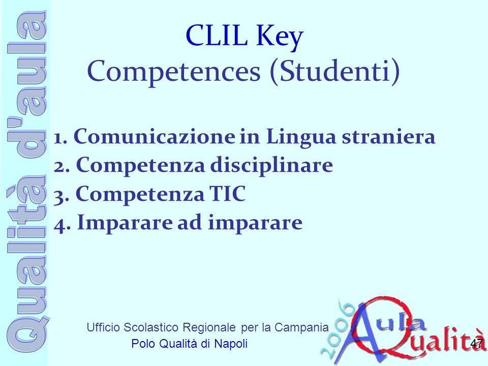 Ufficio Scolastico Regionale per la Campania Polo Qualità di Napoli CLIL Key Competences (Studenti) 1. Comunicazione in Lingua straniera 2. Competenza