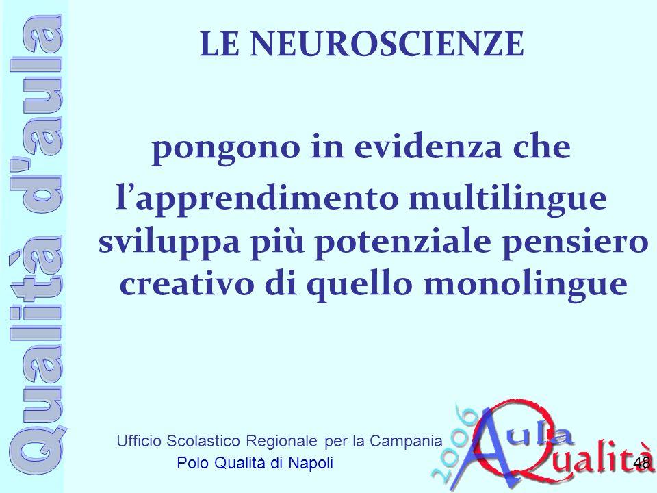 Ufficio Scolastico Regionale per la Campania Polo Qualità di Napoli LE NEUROSCIENZE pongono in evidenza che lapprendimento multilingue sviluppa più po