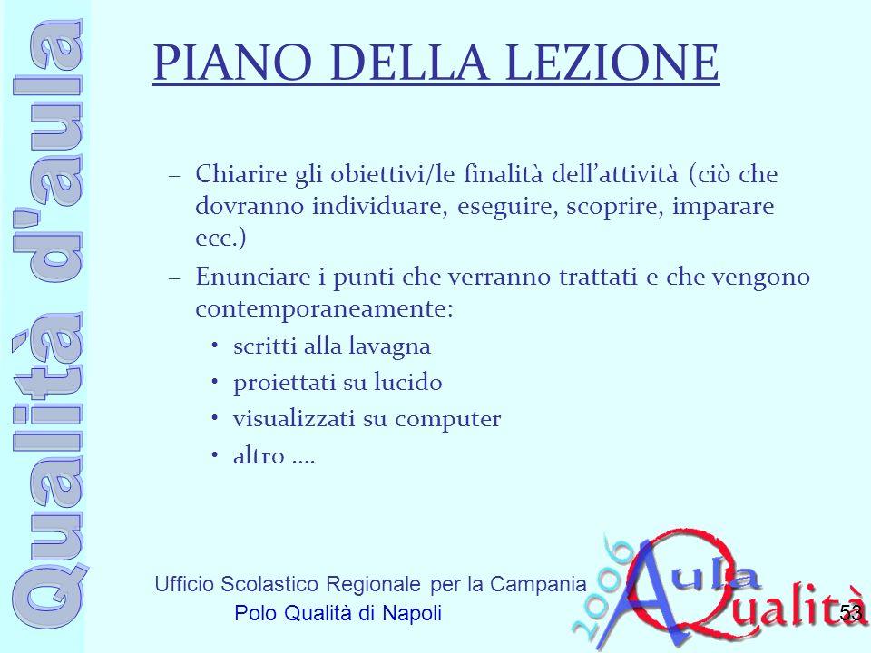 Ufficio Scolastico Regionale per la Campania Polo Qualità di Napoli PIANO DELLA LEZIONE –Chiarire gli obiettivi/le finalità dellattività (ciò che dovr