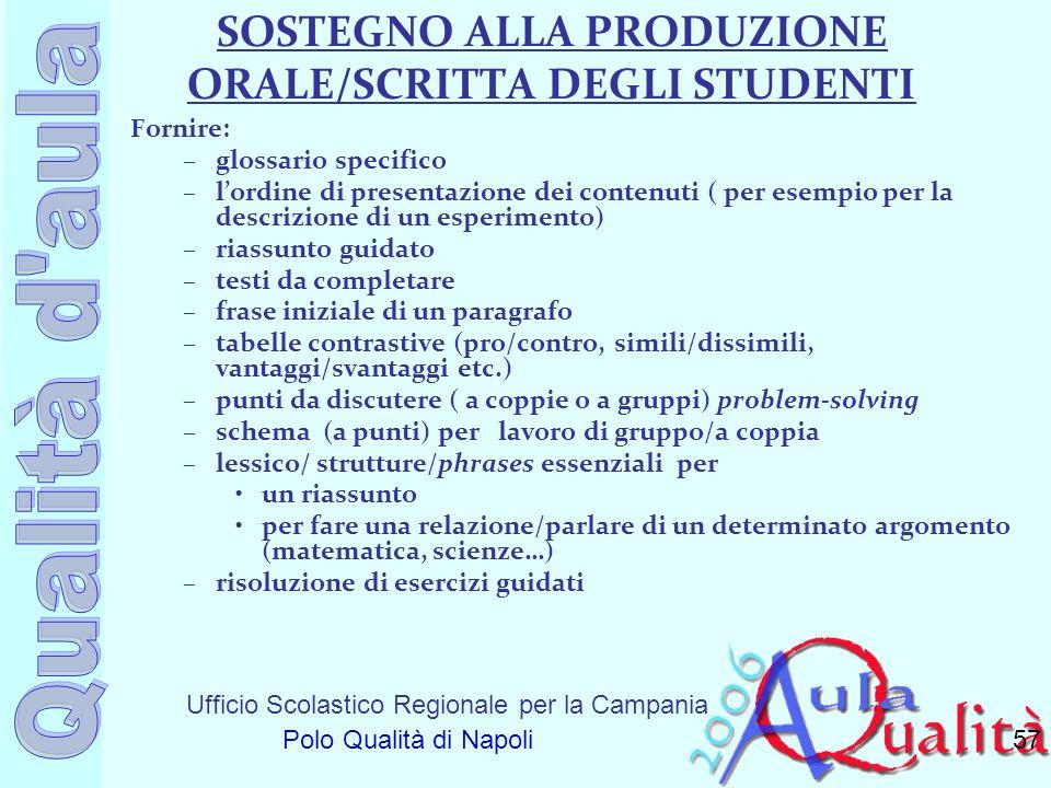 Ufficio Scolastico Regionale per la Campania Polo Qualità di Napoli SOSTEGNO ALLA PRODUZIONE ORALE/SCRITTA DEGLI STUDENTI Fornire: –glossario specific