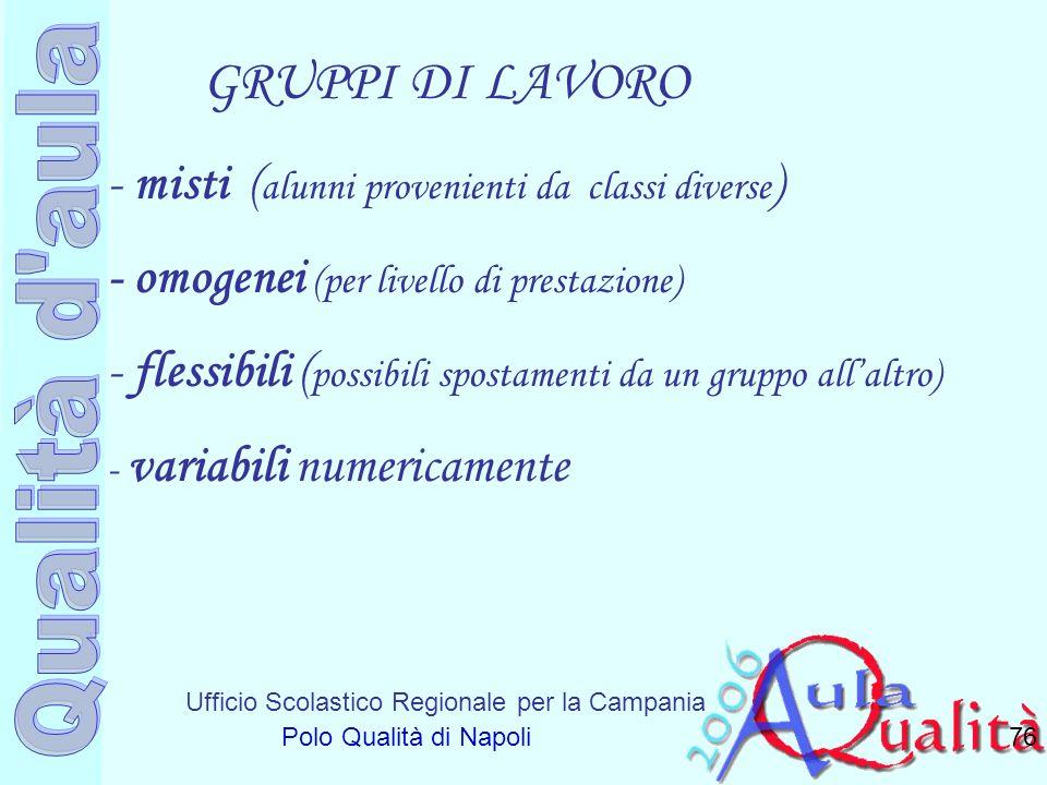 Ufficio Scolastico Regionale per la Campania Polo Qualità di Napoli GRUPPI DI LAVORO 76 - misti ( alunni provenienti da classi diverse ) - omogenei (p