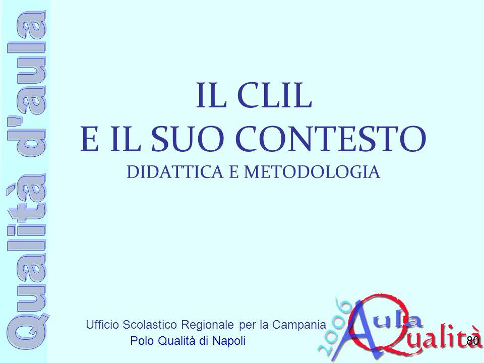 Ufficio Scolastico Regionale per la Campania Polo Qualità di Napoli IL CLIL E IL SUO CONTESTO DIDATTICA E METODOLOGIA 80