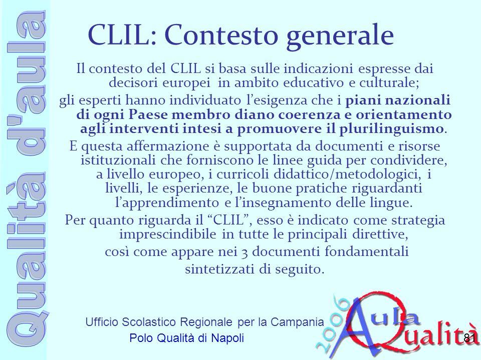Ufficio Scolastico Regionale per la Campania Polo Qualità di Napoli CLIL: Contesto generale Il contesto del CLIL si basa sulle indicazioni espresse da