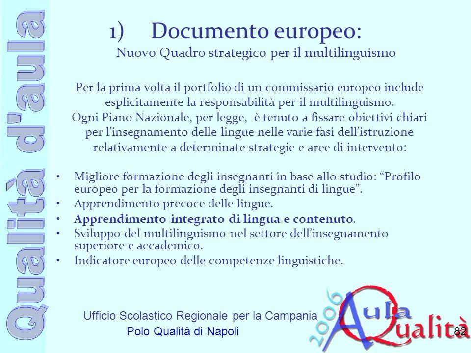 Ufficio Scolastico Regionale per la Campania Polo Qualità di Napoli 1)Documento europeo: Nuovo Quadro strategico per il multilinguismo Per la prima vo