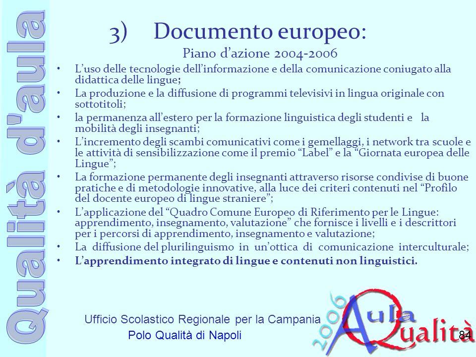 Ufficio Scolastico Regionale per la Campania Polo Qualità di Napoli 3)Documento europeo: Piano dazione 2004-2006 Luso delle tecnologie dellinformazion