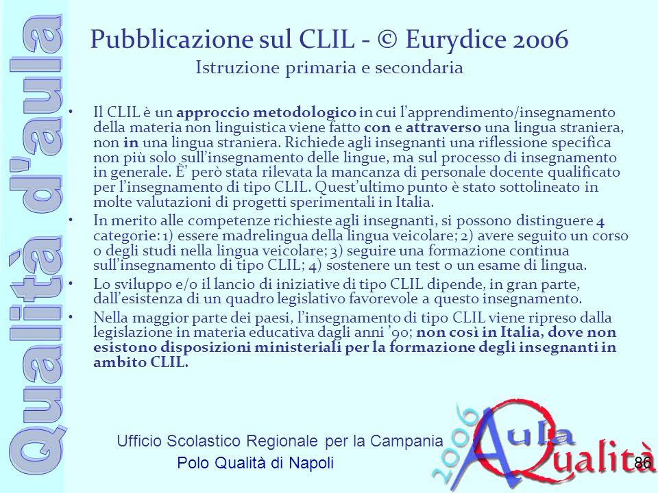 Ufficio Scolastico Regionale per la Campania Polo Qualità di Napoli Pubblicazione sul CLIL - © Eurydice 2006 Istruzione primaria e secondaria Il CLIL
