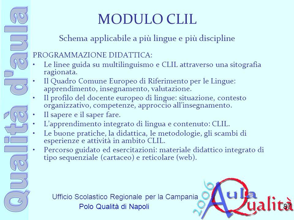 Ufficio Scolastico Regionale per la Campania Polo Qualità di Napoli MODULO CLIL Schema applicabile a più lingue e più discipline PROGRAMMAZIONE DIDATT