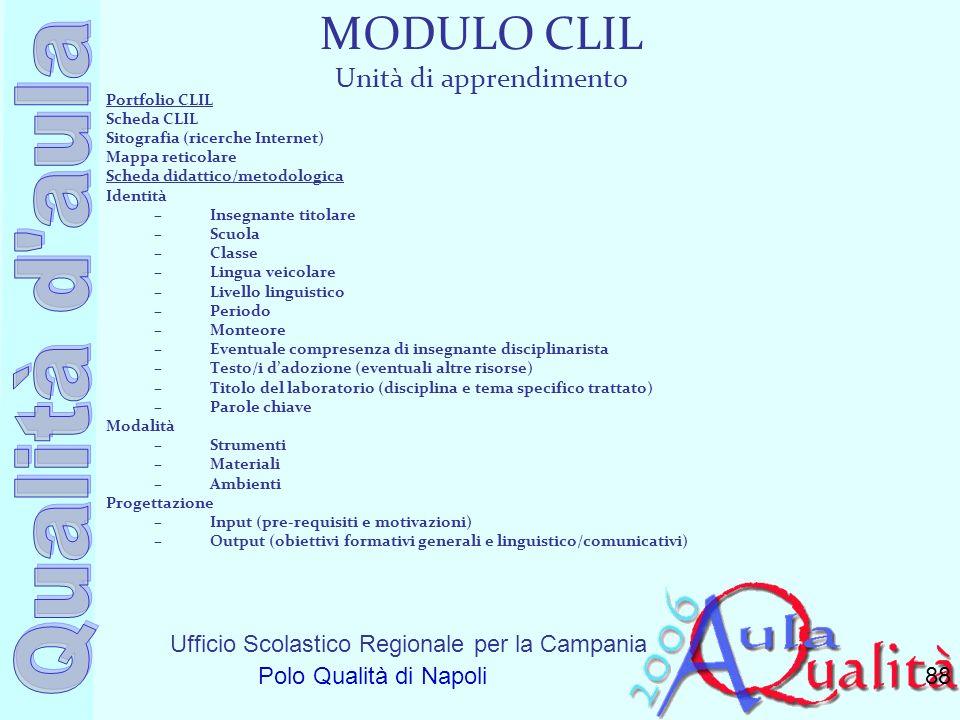 Ufficio Scolastico Regionale per la Campania Polo Qualità di Napoli MODULO CLIL Unità di apprendimento Portfolio CLIL Scheda CLIL Sitografia (ricerche