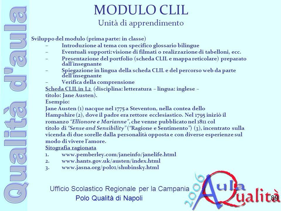 Ufficio Scolastico Regionale per la Campania Polo Qualità di Napoli MODULO CLIL Unità di apprendimento Sviluppo del modulo (prima parte: in classe) –I