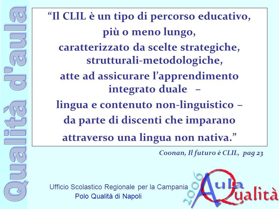 Ufficio Scolastico Regionale per la Campania Polo Qualità di Napoli Il CLIL è un tipo di percorso educativo, più o meno lungo, caratterizzato da scelt