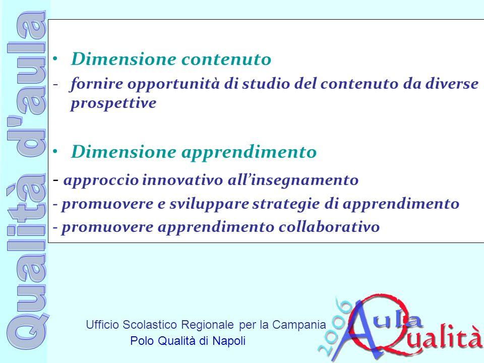 Ufficio Scolastico Regionale per la Campania Polo Qualità di Napoli Dimensione contenuto -fornire opportunità di studio del contenuto da diverse prosp