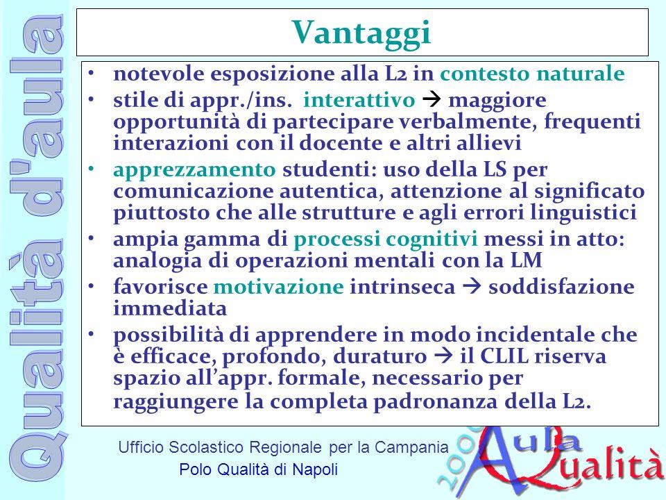 Ufficio Scolastico Regionale per la Campania Polo Qualità di Napoli Vantaggi notevole esposizione alla L2 in contesto naturale stile di appr./ins. int