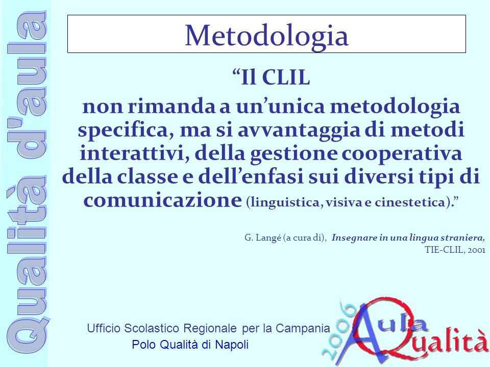 Ufficio Scolastico Regionale per la Campania Polo Qualità di Napoli Metodologia Il CLIL non rimanda a ununica metodologia specifica, ma si avvantaggia