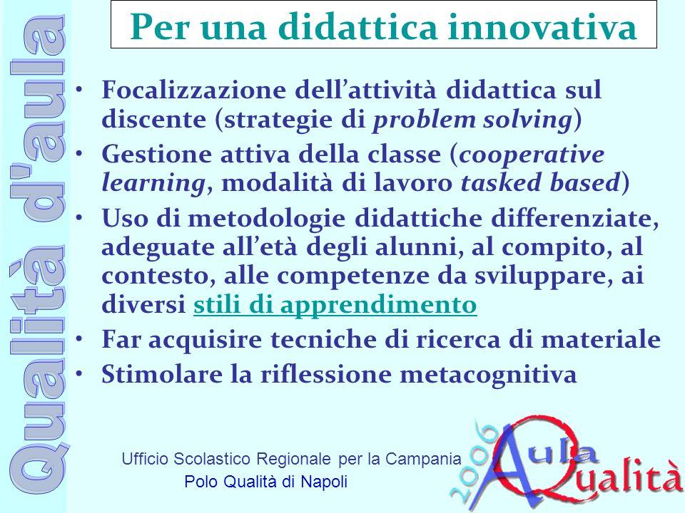 Ufficio Scolastico Regionale per la Campania Polo Qualità di Napoli Per una didattica innovativa Focalizzazione dellattività didattica sul discente (s