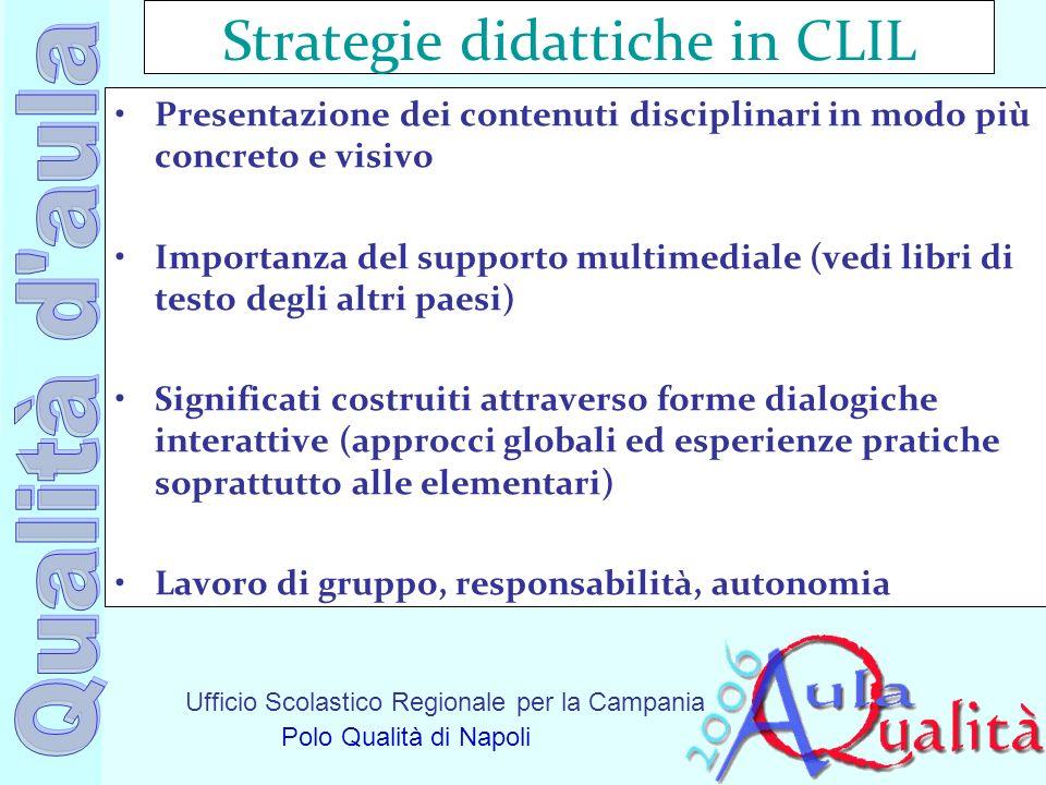 Ufficio Scolastico Regionale per la Campania Polo Qualità di Napoli Strategie didattiche in CLIL Presentazione dei contenuti disciplinari in modo più