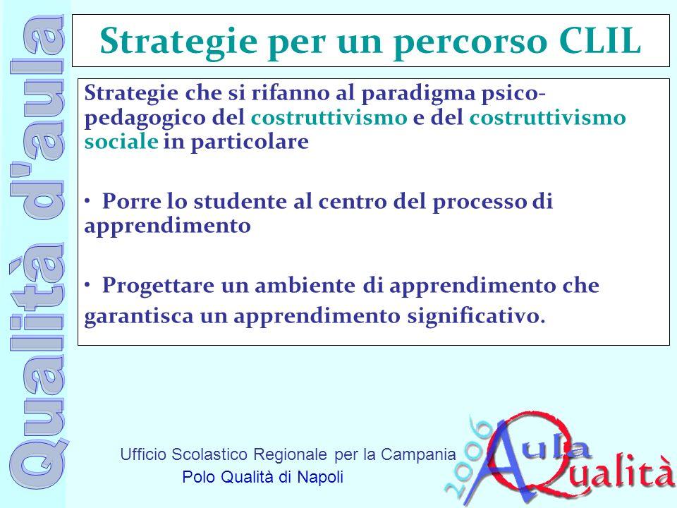 Ufficio Scolastico Regionale per la Campania Polo Qualità di Napoli Strategie per un percorso CLIL Strategie che si rifanno al paradigma psico- pedago