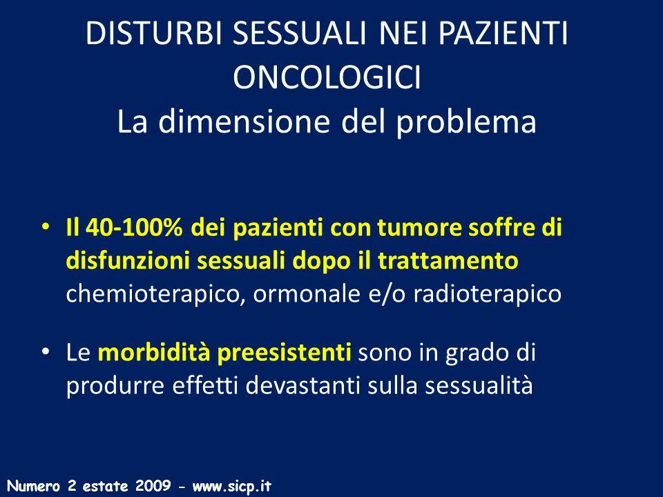 DISTURBI SESSUALI NEI PAZIENTI ONCOLOGICI La dimensione del problema Il 40-100% dei pazienti con tumore soffre di disfunzioni sessuali dopo il trattam