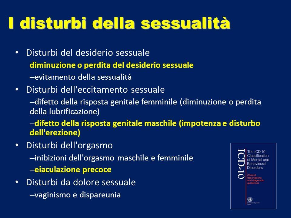 I disturbi della sessualità Disturbi del desiderio sessuale diminuzione o perdita del desiderio sessuale – evitamento della sessualità Disturbi dell'e