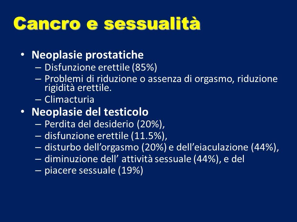 Neoplasie prostatiche – Disfunzione erettile (85%) – Problemi di riduzione o assenza di orgasmo, riduzione rigidità erettile. – Climacturia Neoplasie