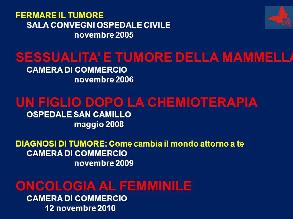 FERMARE IL TUMORE SALA CONVEGNI OSPEDALE CIVILE novembre 2005 SESSUALITA E TUMORE DELLA MAMMELLA CAMERA DI COMMERCIO novembre 2006 UN FIGLIO DOPO LA C