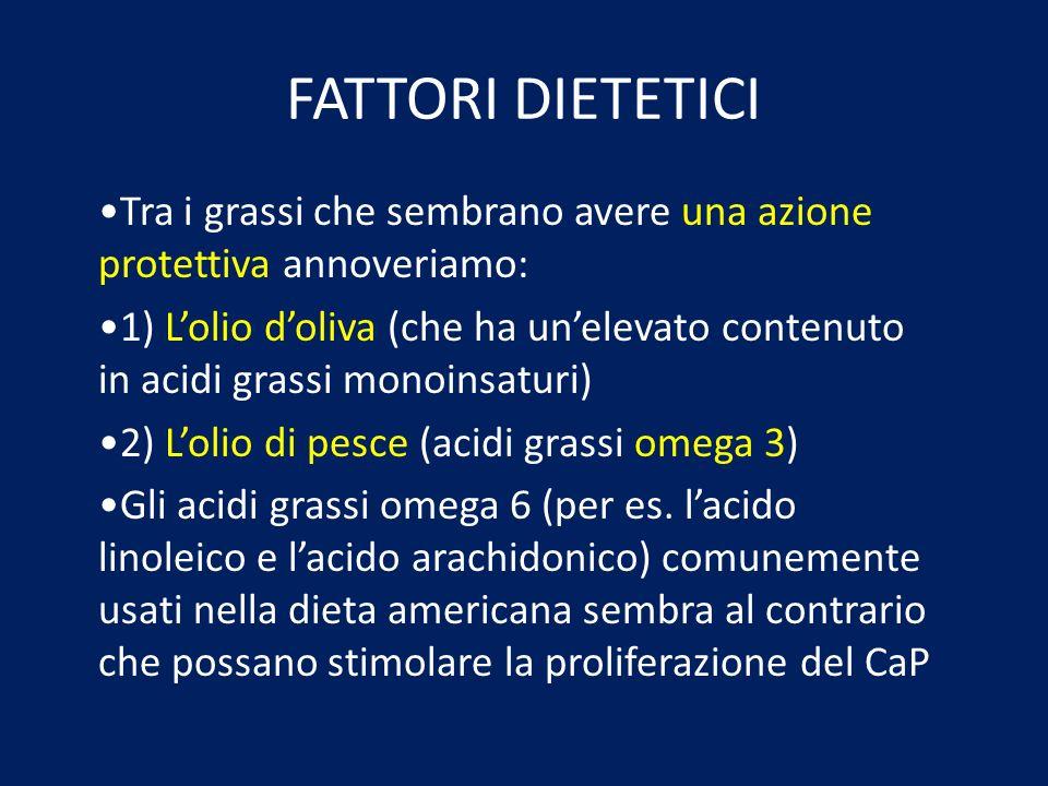 FATTORI DIETETICI Tra i grassi che sembrano avere una azione protettiva annoveriamo: 1) Lolio doliva (che ha unelevato contenuto in acidi grassi monoi