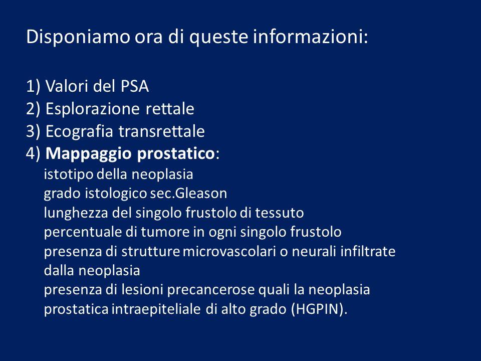 Disponiamo ora di queste informazioni: 1) Valori del PSA 2) Esplorazione rettale 3) Ecografia transrettale 4) Mappaggio prostatico: istotipo della neo