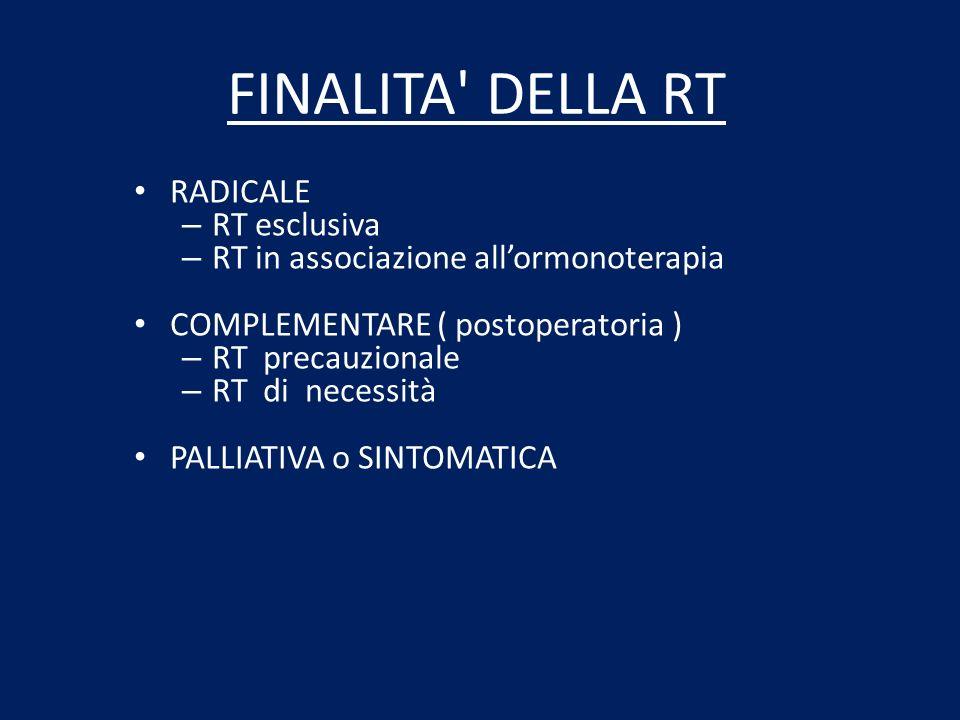 FINALITA' DELLA RT RADICALE – RT esclusiva – RT in associazione allormonoterapia COMPLEMENTARE ( postoperatoria ) – RT precauzionale – RT di necessità