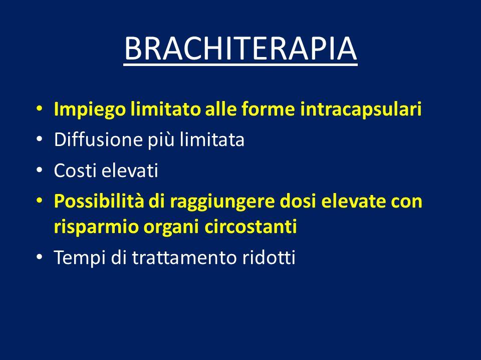 BRACHITERAPIA Impiego limitato alle forme intracapsulari Diffusione più limitata Costi elevati Possibilità di raggiungere dosi elevate con risparmio o