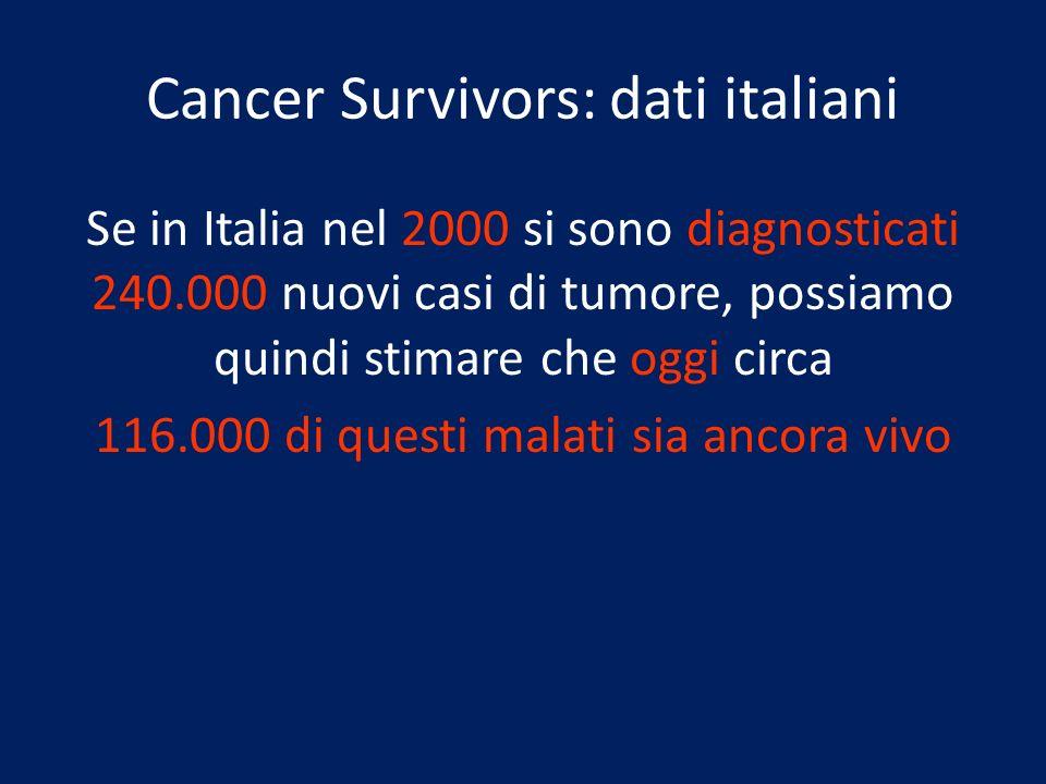 Cancer Survivors: dati italiani Se in Italia nel 2000 si sono diagnosticati 240.000 nuovi casi di tumore, possiamo quindi stimare che oggi circa 116.0