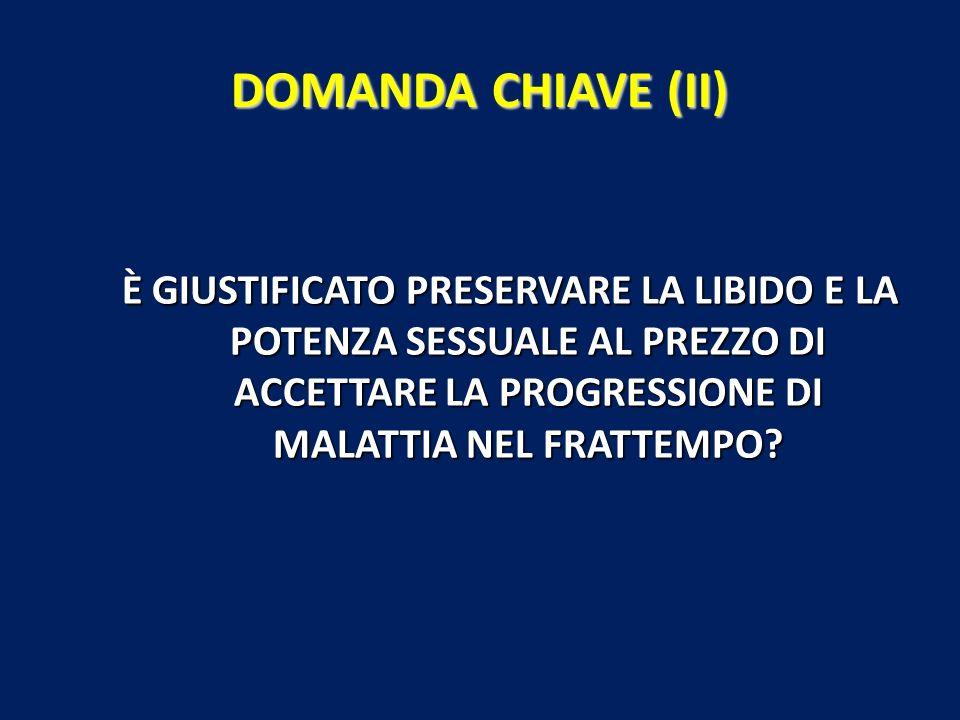DOMANDA CHIAVE (II) È GIUSTIFICATO PRESERVARE LA LIBIDO E LA POTENZA SESSUALE AL PREZZO DI ACCETTARE LA PROGRESSIONE DI MALATTIA NEL FRATTEMPO?