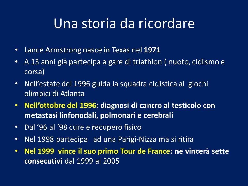 Una storia da ricordare Lance Armstrong nasce in Texas nel 1971 A 13 anni già partecipa a gare di triathlon ( nuoto, ciclismo e corsa) Nellestate del