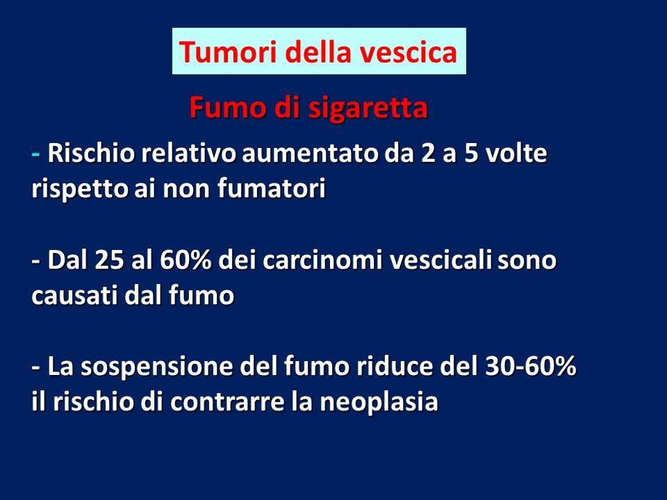 Fumo di sigaretta - Rischio relativo aumentato da 2 a 5 volte rispetto ai non fumatori - Dal 25 al 60% dei carcinomi vescicali sono causati dal fumo -