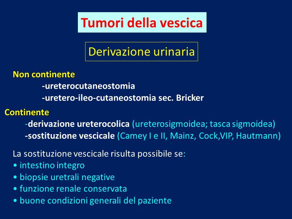 Tumori della vescica Derivazione urinaria Non continente -ureterocutaneostomia -uretero-ileo-cutaneostomia sec. Bricker Continente -derivazione ureter
