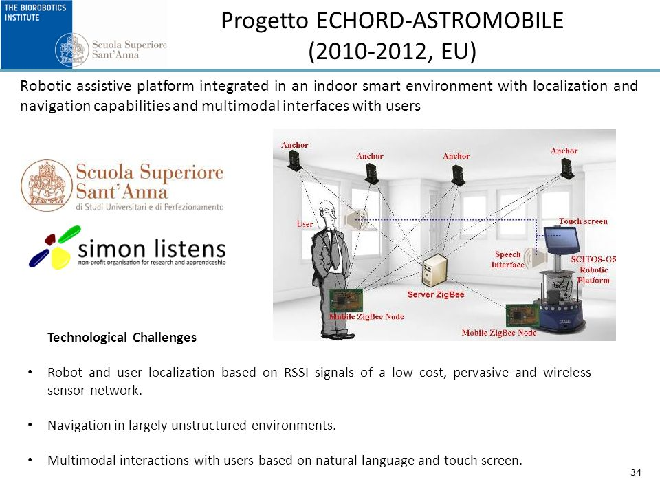 Progetto ECHORD-ASTROMOBILE (2010-2012, EU) 34 Robotic assistive platform integrated in an indoor smart environment with localization and navigation capabilities and multimodal interfaces with users Technological Challenges Robot and user localization based on RSSI signals of a low cost, pervasive and wireless sensor network.