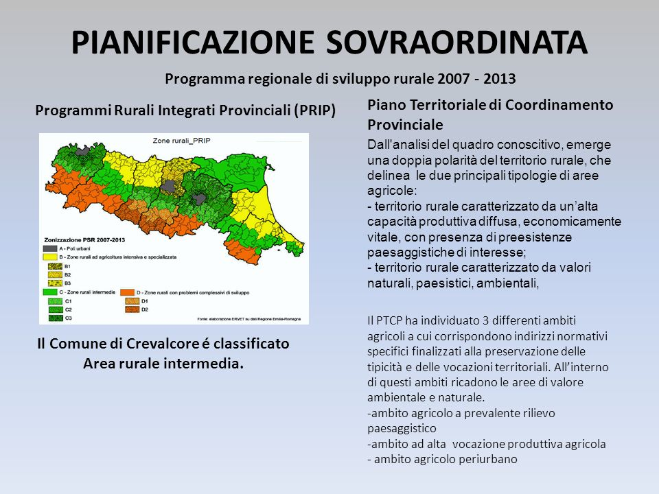 PIANIFICAZIONE SOVRAORDINATA Programma regionale di sviluppo rurale 2007 - 2013 Programmi Rurali Integrati Provinciali (PRIP) Il Comune di Crevalcore