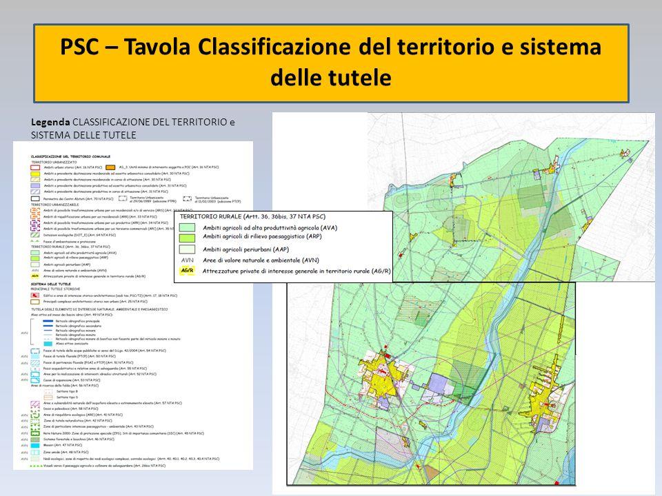 PSC – Tavola Classificazione del territorio e sistema delle tutele Legenda CLASSIFICAZIONE DEL TERRITORIO e SISTEMA DELLE TUTELE