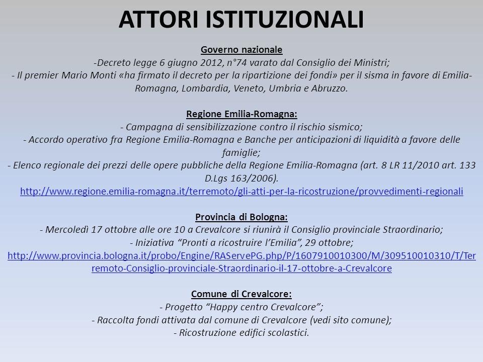 ATTORI ISTITUZIONALI Governo nazionale -Decreto legge 6 giugno 2012, n°74 varato dal Consiglio dei Ministri; - Il premier Mario Monti «ha firmato il d