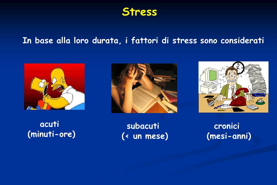 Stress In base alla loro durata, i fattori di stress sono considerati acuti (minuti-ore) subacuti (< un mese) cronici (mesi-anni)