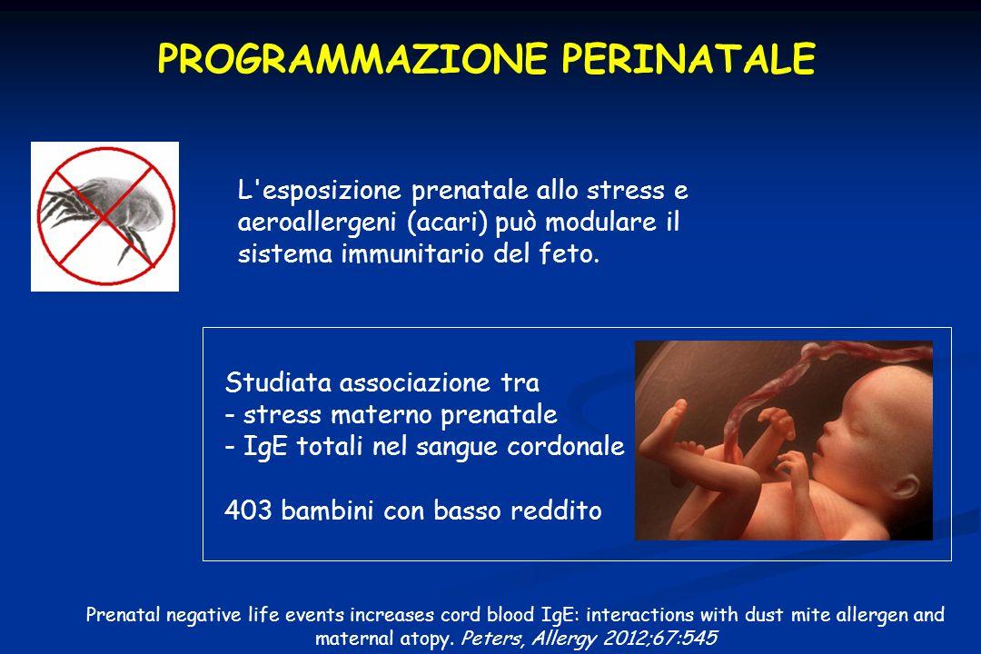 PROGRAMMAZIONE PERINATALE Studiata associazione tra - stress materno prenatale - IgE totali nel sangue cordonale 403 bambini con basso reddito Prenata