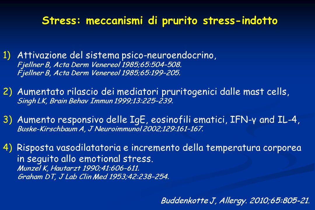 Buddenkotte J, Allergy. 2010;65:805-21. 1)Attivazione del sistema psico-neuroendocrino, Fjellner B, Acta Derm Venereol 1985;65:504–508. Fjellner B, Ac