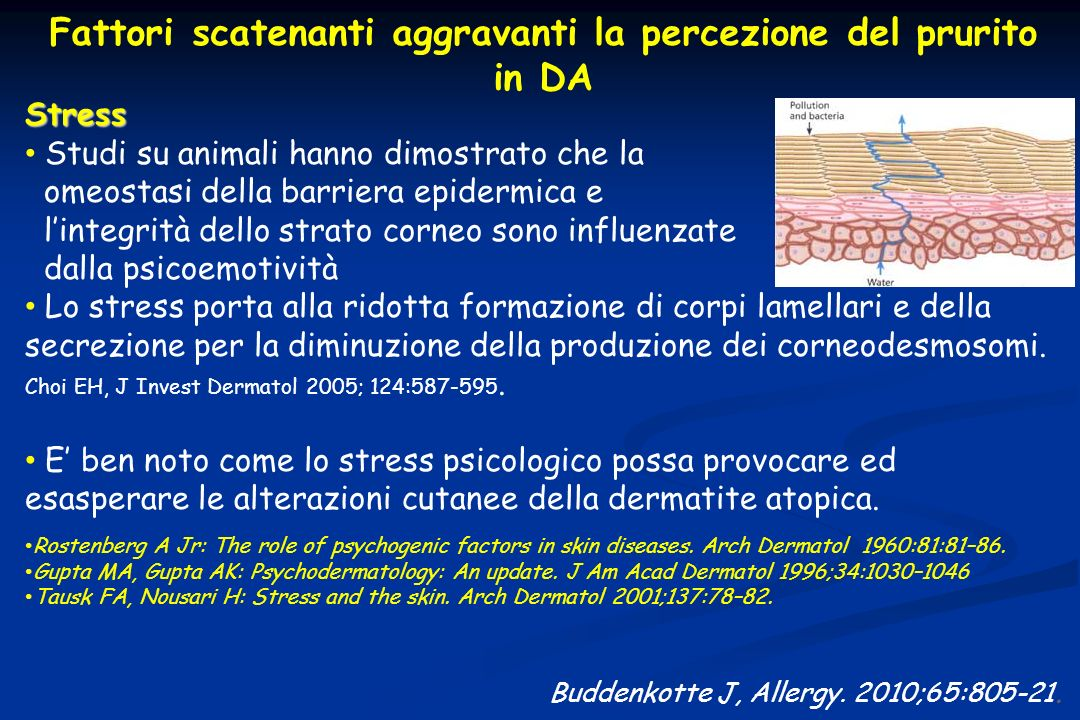 Buddenkotte J, Allergy. 2010;65:805-21. Fattori scatenanti aggravanti la percezione del prurito in DA Stress Studi su animali hanno dimostrato che la