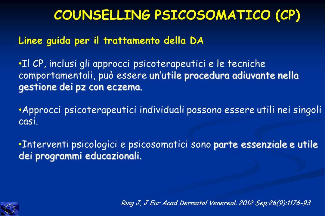 Ring J, J Eur Acad Dermatol Venereol. 2012 Sep;26(9):1176-93 Linee guida per il trattamento della DA unutile procedura adiuvante nella gestione dei pz