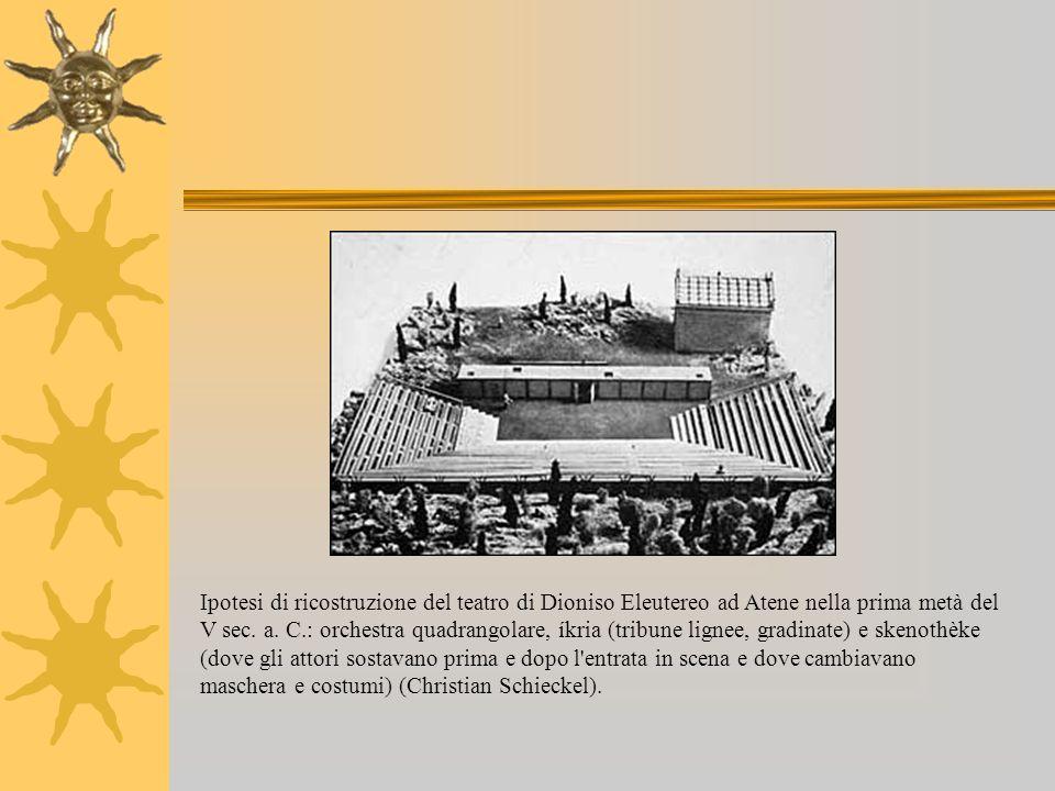 Ipotesi di ricostruzione del teatro di Dioniso Eleutereo ad Atene nella prima metà del V sec. a. C.: orchestra quadrangolare, íkria (tribune lignee, g