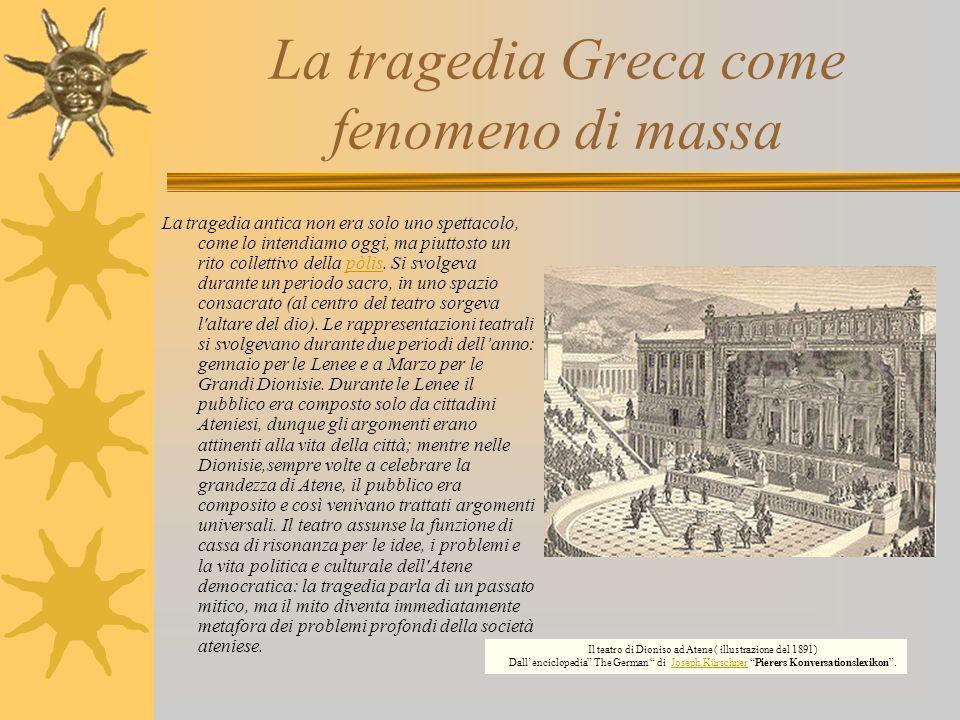 La tragedia Greca come fenomeno di massa La tragedia antica non era solo uno spettacolo, come lo intendiamo oggi, ma piuttosto un rito collettivo dell