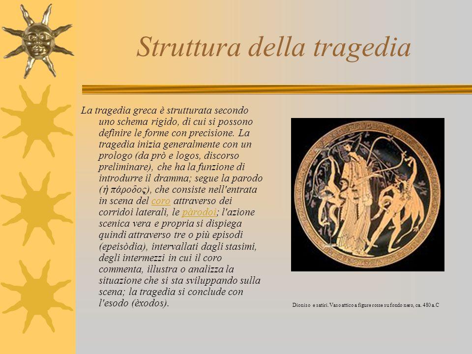 Struttura della tragedia La tragedia greca è strutturata secondo uno schema rigido, di cui si possono definire le forme con precisione. La tragedia in