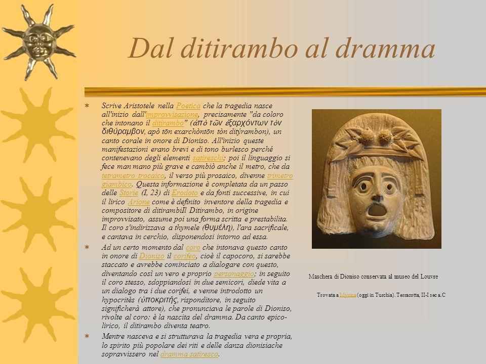 Dal ditirambo al dramma Scrive Aristotele nella Poetica che la tragedia nasce all'inizio dall'improvvisazione, precisamente