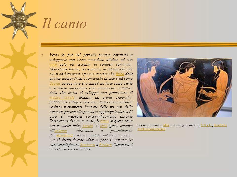 Il canto Verso la fine del periodo arcaico cominciò a svilupparsi una lirica monodica, affidata ad una voce sola ed eseguita in contesti conviviali. M