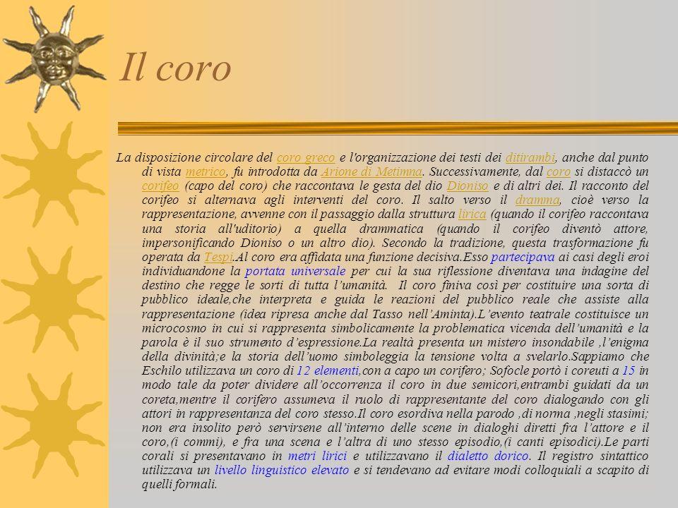 Il coro La disposizione circolare del coro greco e l'organizzazione dei testi dei ditirambi, anche dal punto di vista metrico, fu introdotta da Arione